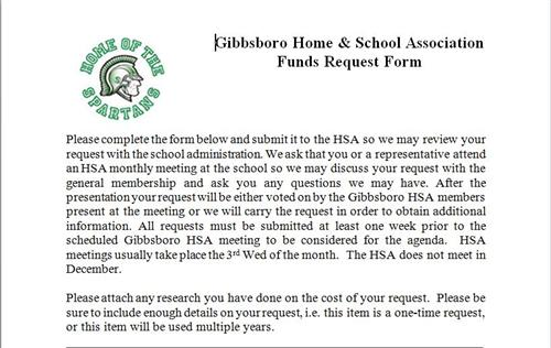 Home And School Association / Staff Request For Funding